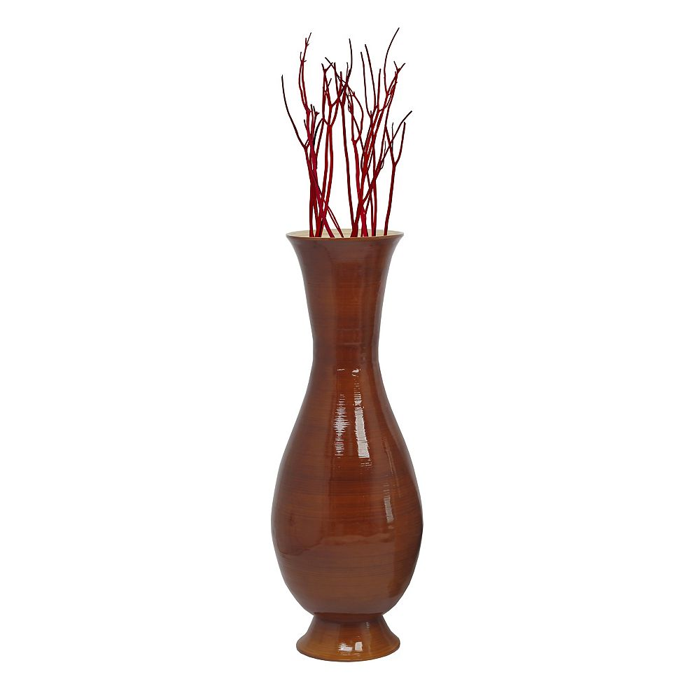 "Uniquewise 43"" Tall Brown Modern Handmade Bamboo Floor Vase"