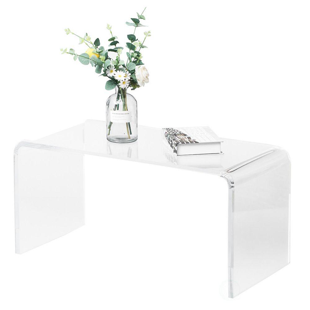 Bold Tones Rectangular Acrylic Waterfall Modern Coffee Table