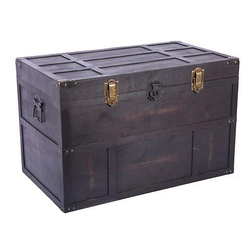 Antique Style Large Dark Wooden Storage Trunk with Lockable Latch