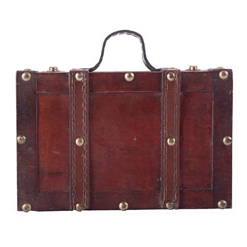 Vintiquewise Antique Style Small Wooden Suitcase With Leather Straps and Handle