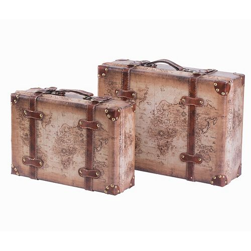 Set of 2 Vintage-Style World Map Leather Suitcase Trunks with Straps and Handle