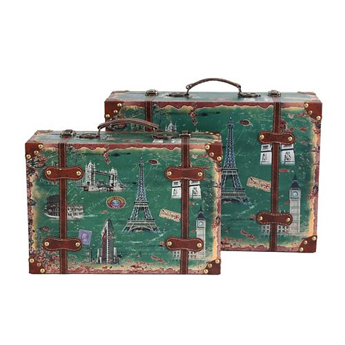 Set of 2 European Landmarks Vintage Wooden Luggage with Leather Straps and Handle