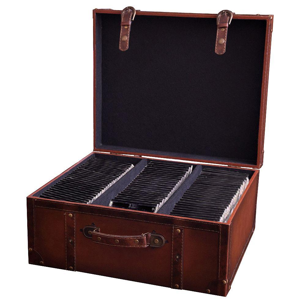 Vintiquewise Faux cuir Vintage Valise Type de boîtier CD