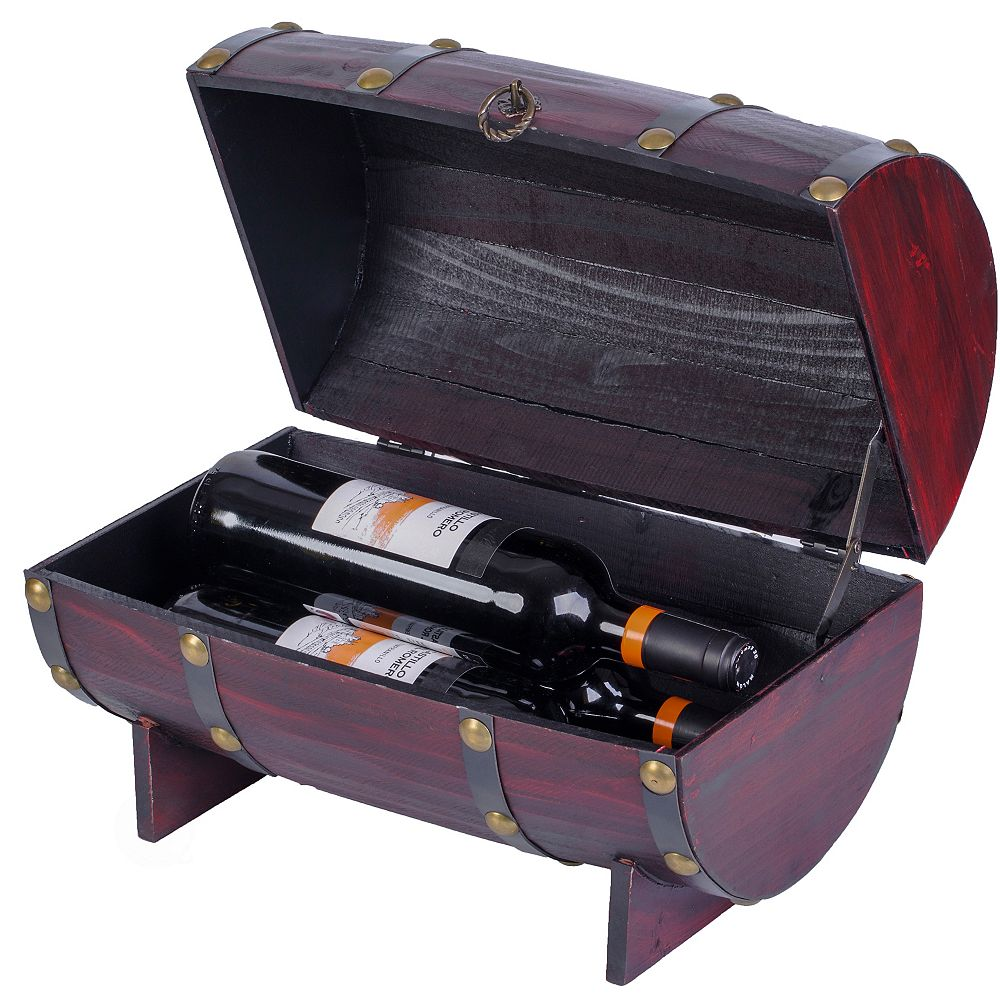 Vintiquewise Wooden Wine Barrel Shaped Treasure Chest Vintage Decorative Wine Holder, Cherry