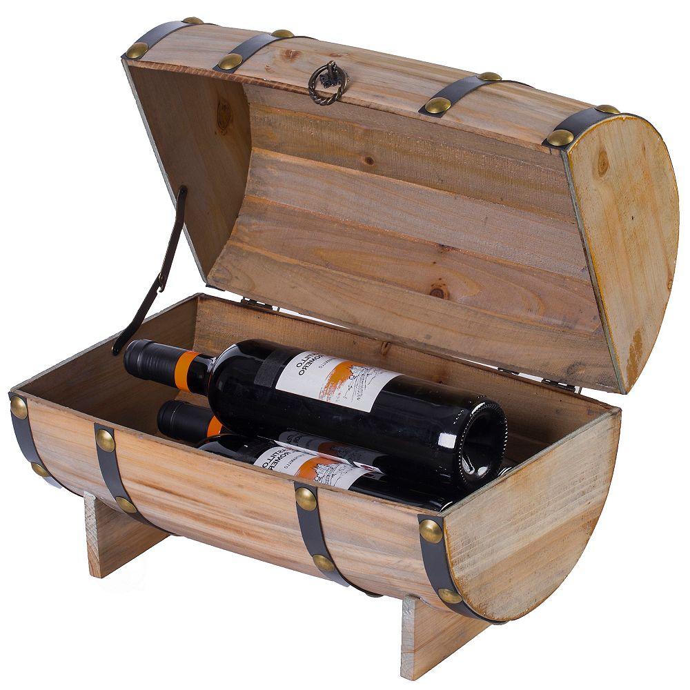 Vintiquewise Wooden Wine Barrel Shaped Treasure Chest Vintage Decorative Wine Holder, Natural