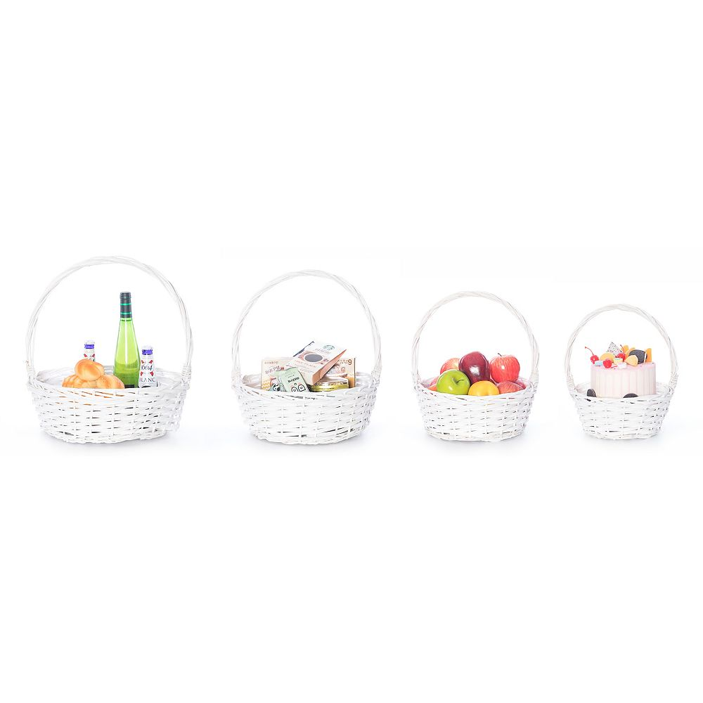 Vintiquewise White Willow Bowl Baskets with Handle, Set of 4