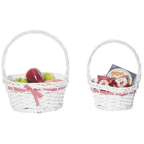 White Willow Bowl Baskets Red Gingham Bow with Handle, Set of 2