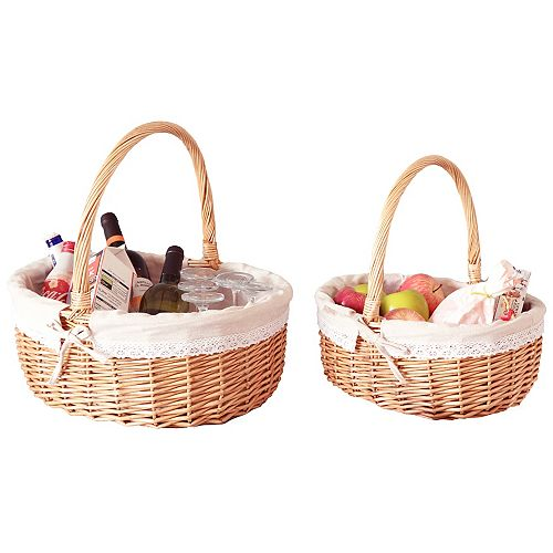 Willow Oval Shaped Bread Basket with Decorative Fabric Liner, Set of 2