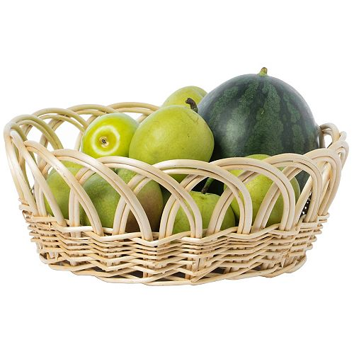 16- Inch Decorative Round Fruit Bowl Bread Basket Serving Tray, Large