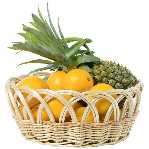 13.75- Inch Decorative Round Fruit Bowl Bread Basket Serving Tray, Medium