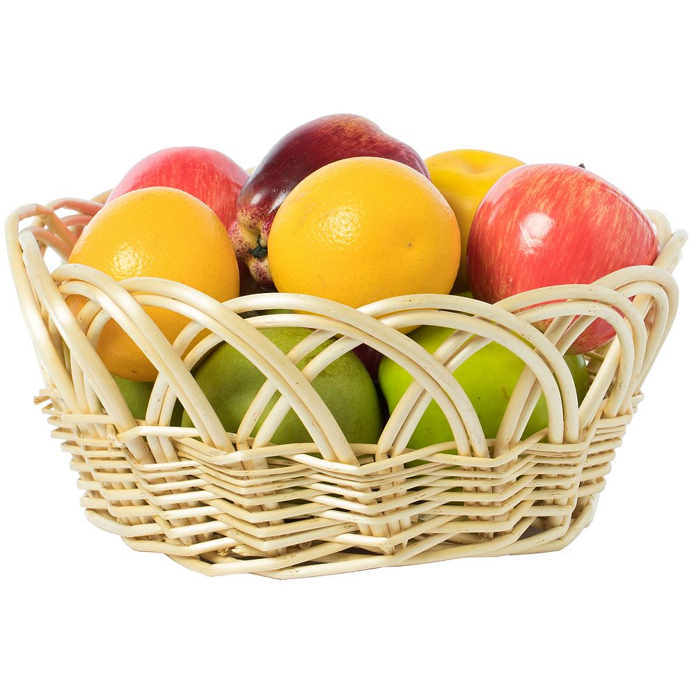 Vintiquewise 11.25- Inch Decorative Round Fruit Bowl Bread Basket Serving Tray, Small