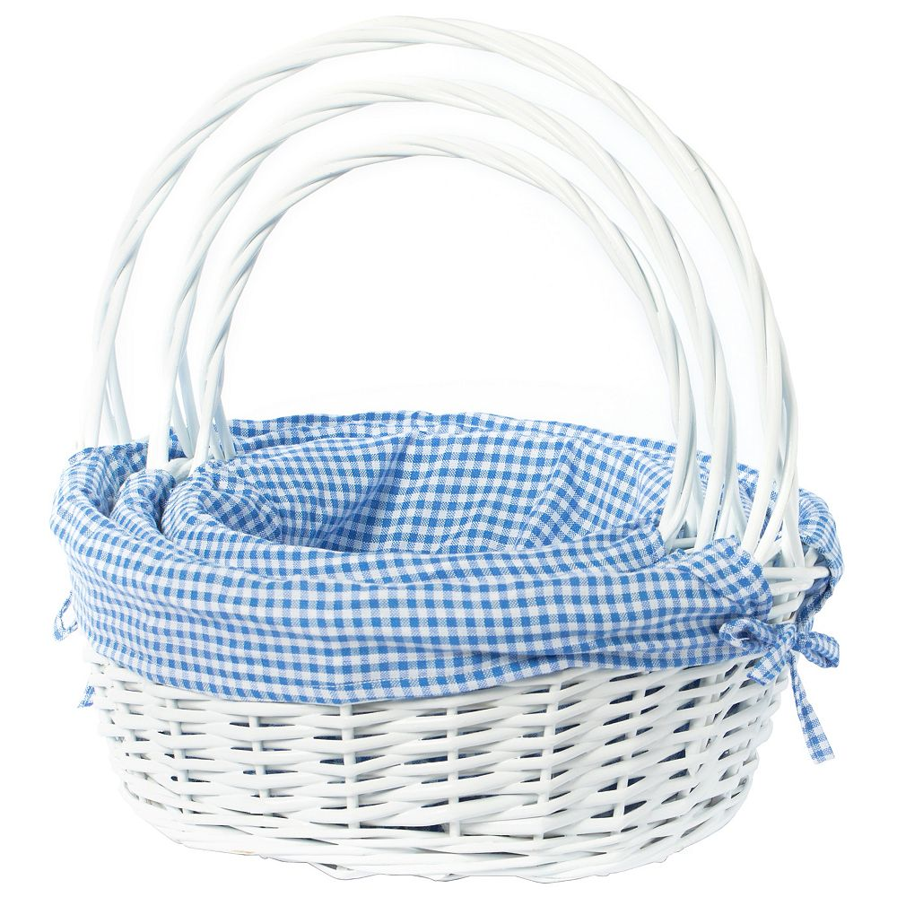 Vintiquewise White Round Willow Gift Basket, with Blue Gingham Liner and Handle- Set of 3