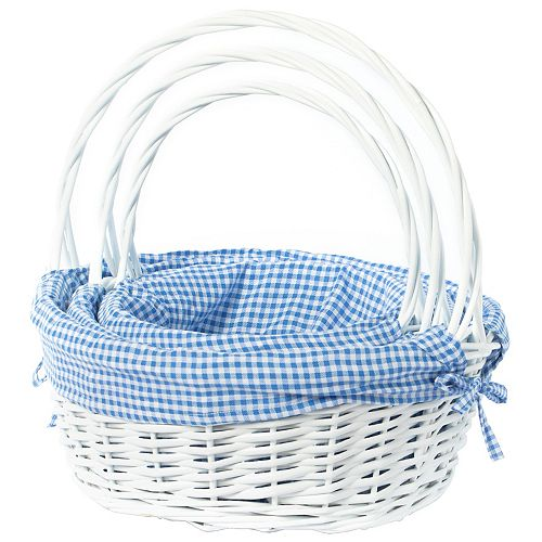 White Round Willow Gift Basket, with Blue Gingham Liner and Handle- Set of 3