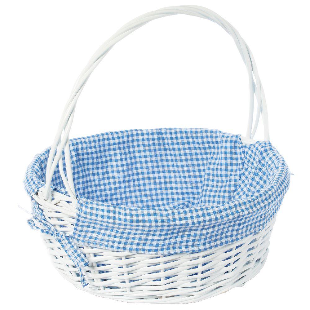 Vintiquewise Ronde de saule blanc panier-cadeau, avec Blue vichy Liner et poignée - Grand
