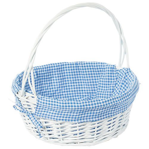 White Round Willow Gift Basket, with Blue Gingham Liner and Handle - Large