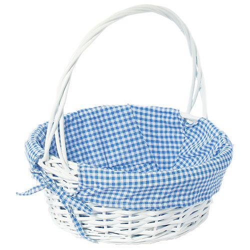 White Round Willow Gift Basket, with Blue Gingham Liner and Handle- Medium