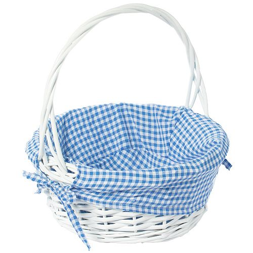 White Round Willow Gift Basket, with Blue Gingham Liner and Handle - Small