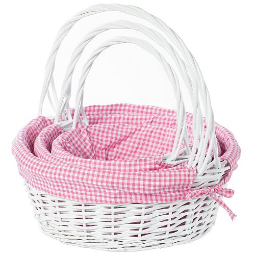 White Round Willow Gift Basket, with Pink Gingham Liner and Handle- Set of 3