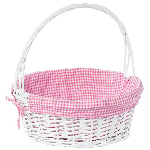 White Round Willow Gift Basket, with Pink Gingham Liner and Handle - Large