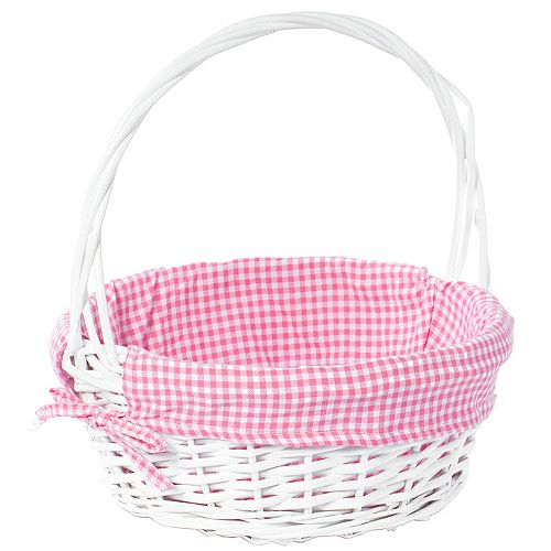White Round Willow Gift Basket, with Pink Gingham Liner and Handle - Medium