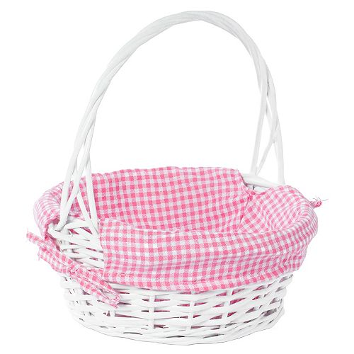 White Round Willow Gift Basket, with Pink Gingham Liner and Handle- Small