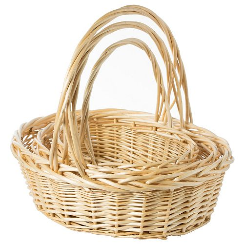 Natural Willow Oval Shaped Gift Basket Fruit Bowl Bread Serving Tray with Handle, Set of 3