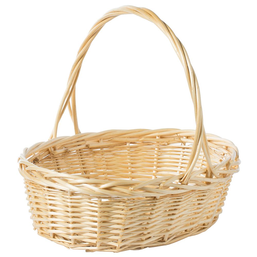 Vintiquewise Natural Willow Oval Shaped Gift Basket Fruit Bowl Bread Serving Tray with Handle, Large
