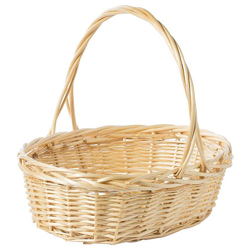 Natural Willow Oval Shaped Gift Basket Fruit Bowl Bread Serving Tray with Handle, Large