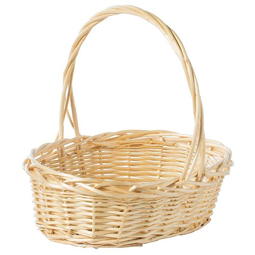 Natural Willow Oval Shaped Gift Basket Fruit Bowl Bread Serving Tray with Handle, Medium