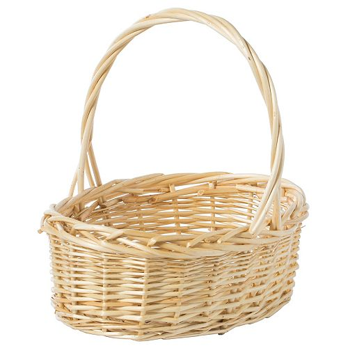 Natural Willow Oval Shaped Gift Basket Fruit Bowl Bread Serving Tray with Handle, Small