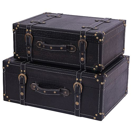 Antique Style Suitcase With Straps, Set of 2