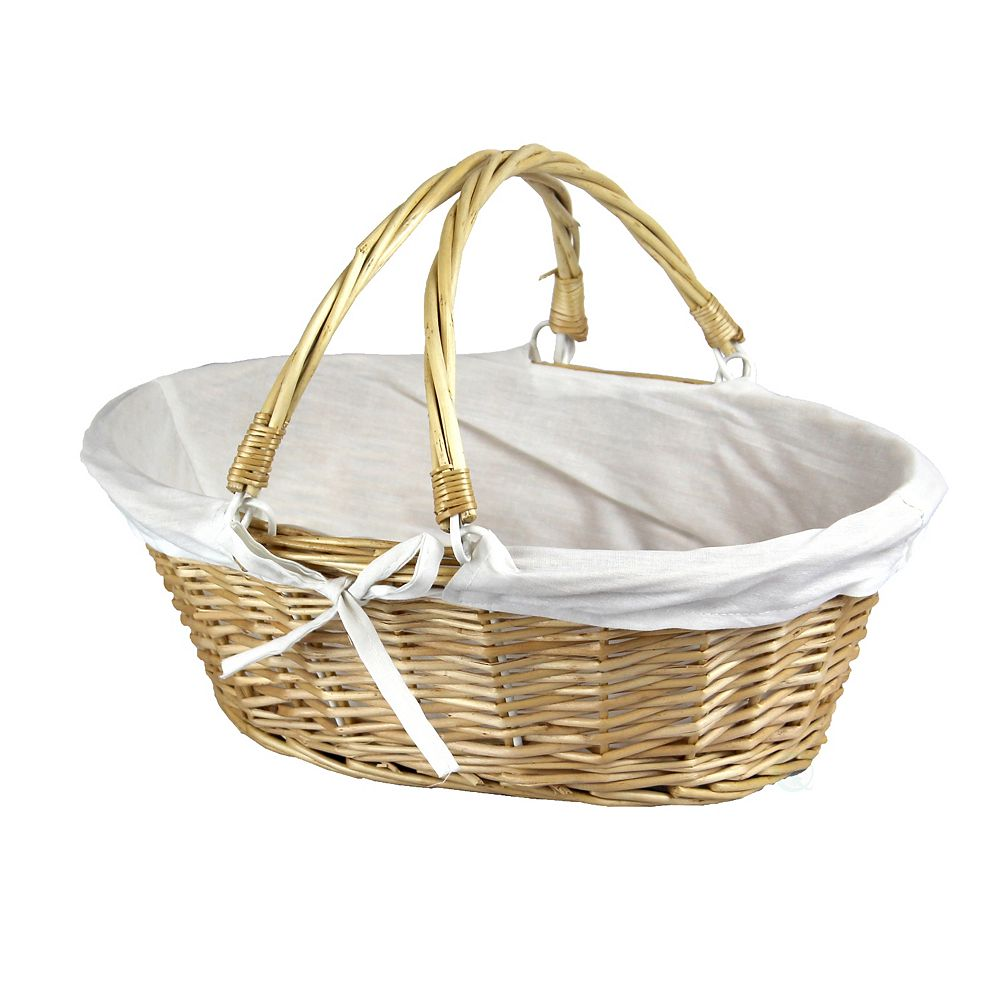 Vintiquewise Vintiquewise Oval Willow Basket with Double Drop Down Handles, Set of 2