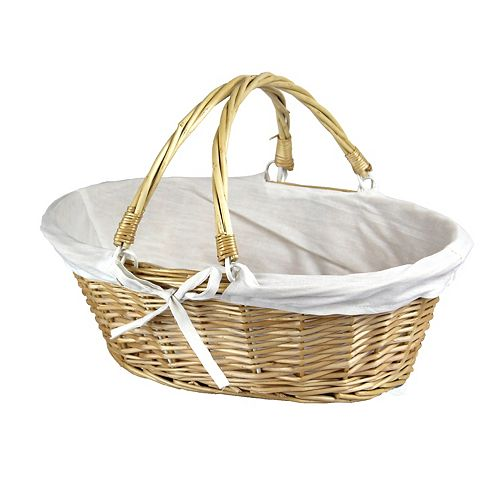 Vintiquewise Oval Willow Basket with Double Drop Down Handles, Set of 2