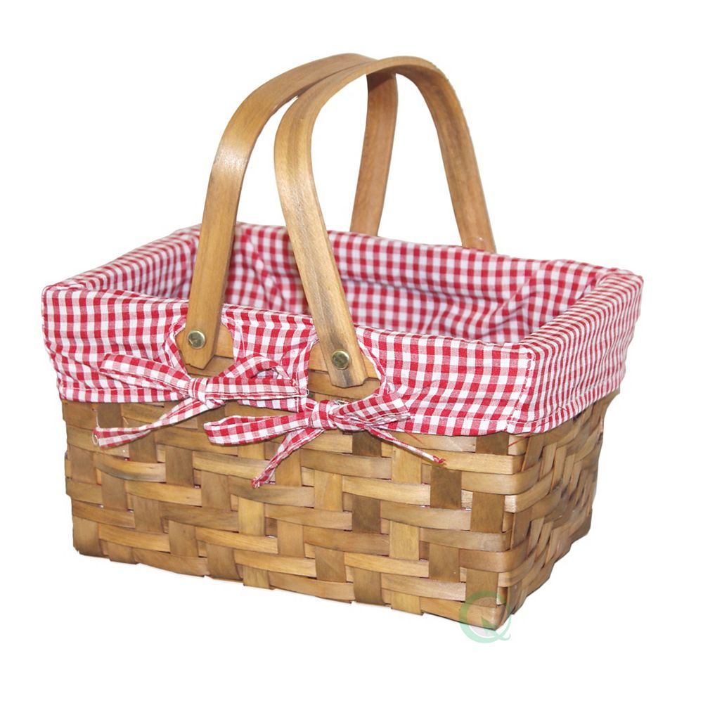 Vintiquewise Vintiquewise Rectangular Basket Lined with Gingham Lining, Small (36)