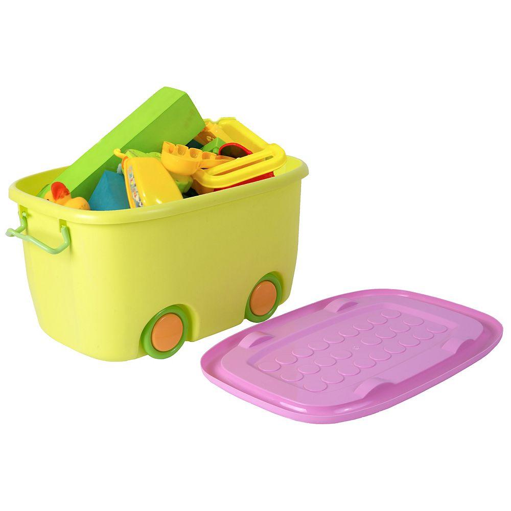 Basicwise boîte de rangement petit jouet jaune