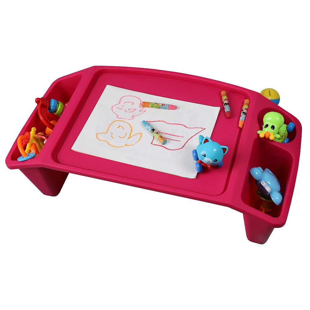Basicwise Kids Lap Desk Tray, Portable Activity Table, Pink, Set of 12