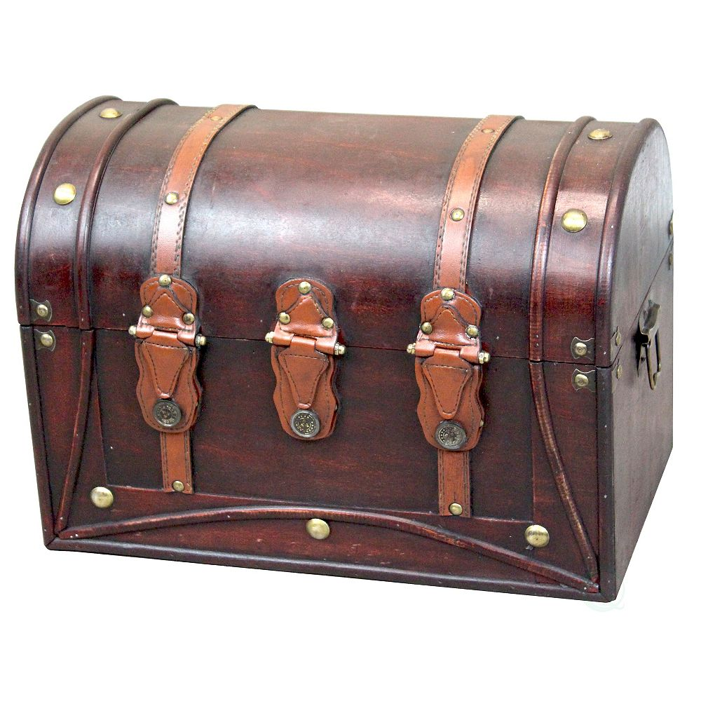Vintiquewise Decorative Antique Style Wood and Leather Round Top Trunk with Straps