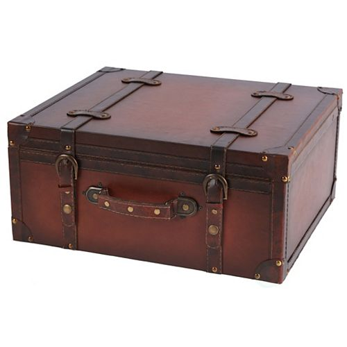 Vintage Style Leather Suitcase - CD Case