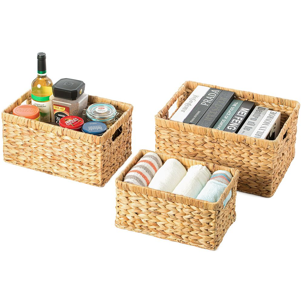 Vintiquewise Natural Woven Water Hyacinth Wicker Rectangular Storage Bin Basket with Handles, Set of 3