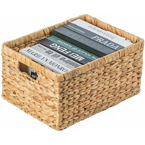 Natural Woven Water Hyacinth Wicker Rectangular Storage Bin Basket with Handles, Large