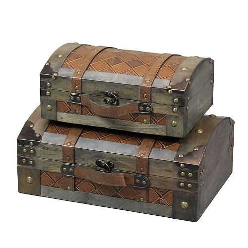 Set of 2 Rustic Gray Vintage Luggage Style Wooden Treasure Chests