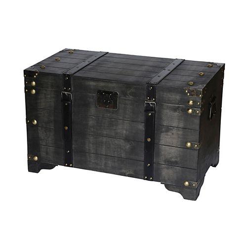 Rustic Distressed Black Wooden Large Storage Trunk