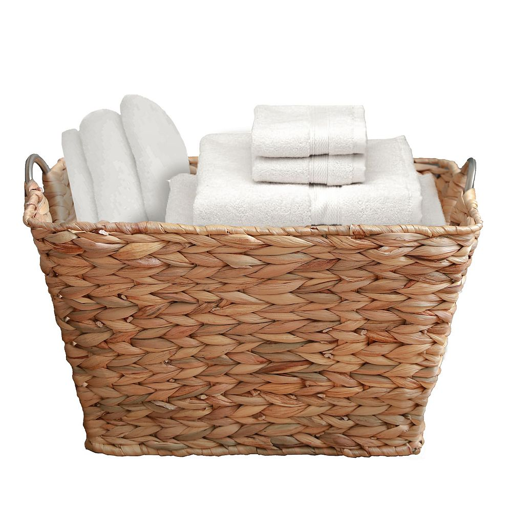 Vintiquewise Water Hyacinth Wicker Large Square Storage Laundry Basket with Handles