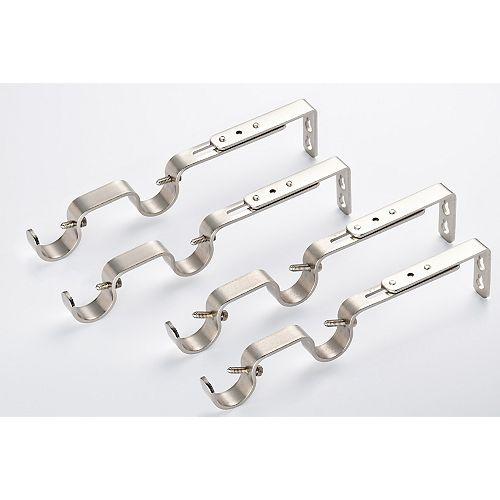(1 & 3/4) Extendable Double Curtain Rod Brackets (4 pcs.) Brushed Nickel Finish - Lumi
