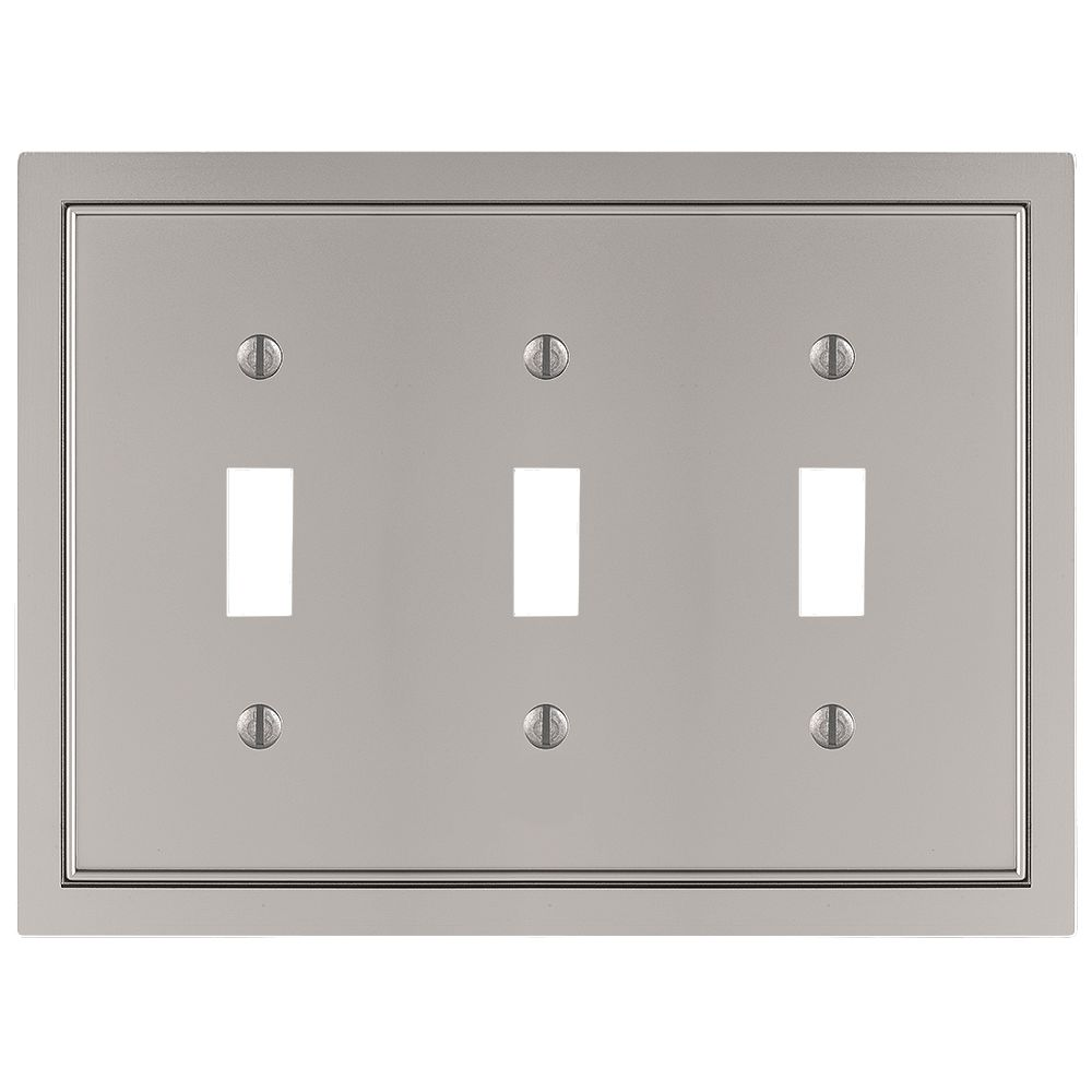 Amerelle Shaker 3 Toggle Wall Plate Cast Satin Nickel