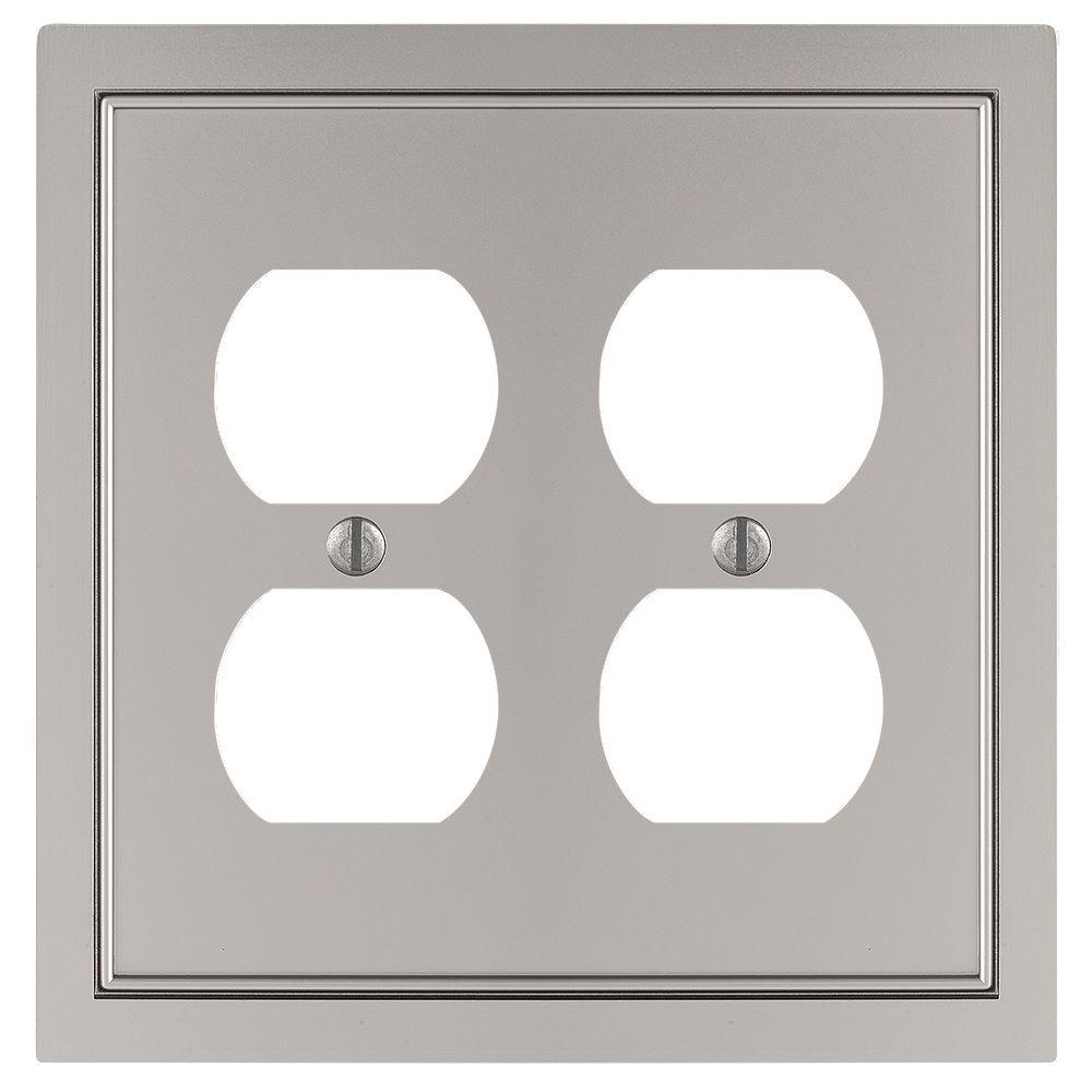 Amerelle Shaker 2 Duplex Wall Plate Cast Satin Nickel