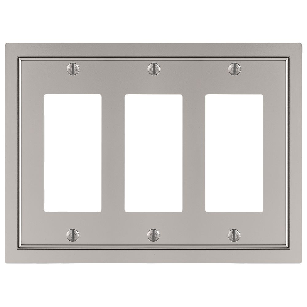 Amerelle Shaker 3 Décor Wall Plate Cast Satin Nickel
