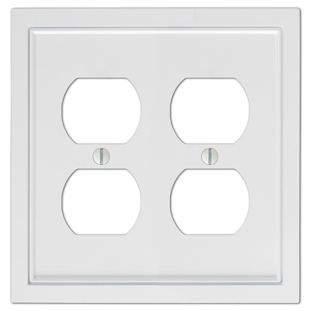 Amerelle Shaker 2 Duplex Wall Plate Cast White