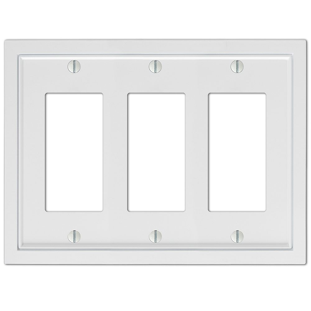Amerelle Shaker 3 Décor Wall Plate Cast White