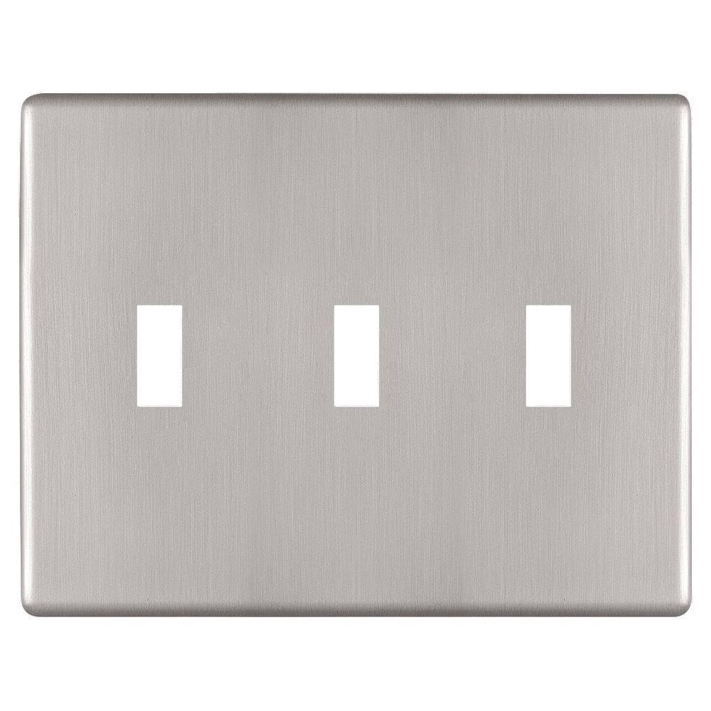 Amerelle Siena Screwless 3 Toggle Wall Plate Steel Brushed Nickel